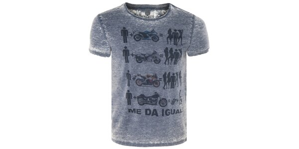 c21d12aacc2 Pánské modré tričko s motorkami Me Da Igual