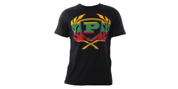 Pánské černé tričko s barevným znakem Phat Farm
