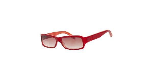 Dámské červené sluneční brýle s mahagonovými skly Calvin Klein