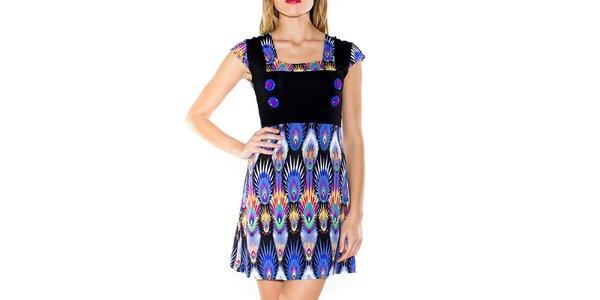 Dámské šaty s potiskem a knoflíčky Purple Jam