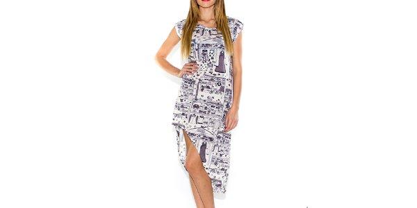 Dámské bílé šaty s potiskem a asymetrickou sukní Purple Jam