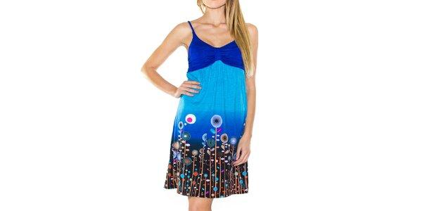 Dámské modré šaty na ramínka Purple Jam