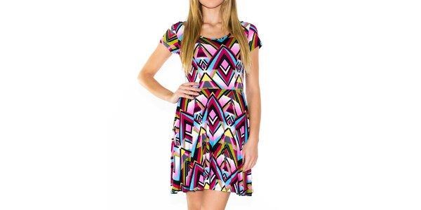 Dámské barevné šaty s geometrickým vzorem Purple Jam