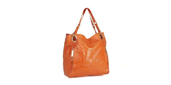 Dámská oranžová lakovaná kabelka Steve Madden s hadím vzorem