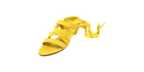 Citronově žluté semišové sandálky značky Bally