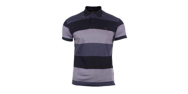 Pánské šedo-modré polo triko s pruhy Pietro Filipi