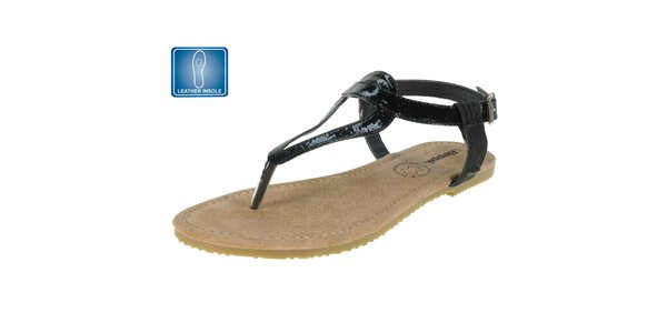 Dámské černé lesklé sandály Beppi