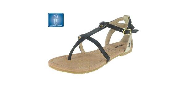 Dámské černé sandály s koženou stélkou Beppi