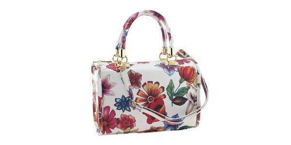 Dámská menší bílá květinová kabelka Classe Regina
