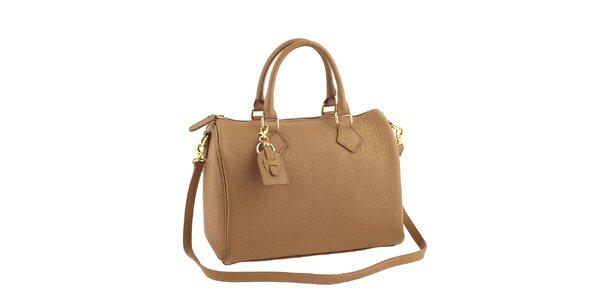 Dámská béžová kožená kabelka s popruhem Classe Regina