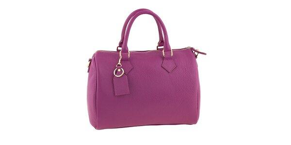 Dámská fuchsiová kožená kabelka s popruhem Classe Regina