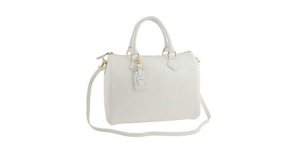 Dámská bílá kožená kabelka s popruhem Classe Regina