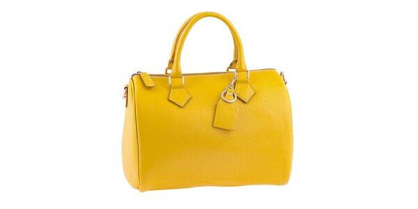 Dámská zářivě žlutá kožená kabelka s popruhem Classe Regina