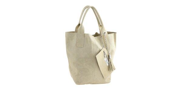 Dámská smetanová kožená nákupní kabelka s třásněmi Classe Regina