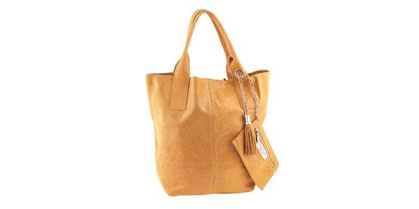 Dámská medově hnědá kožená nákupní kabelka s třásněmi Classe Regina