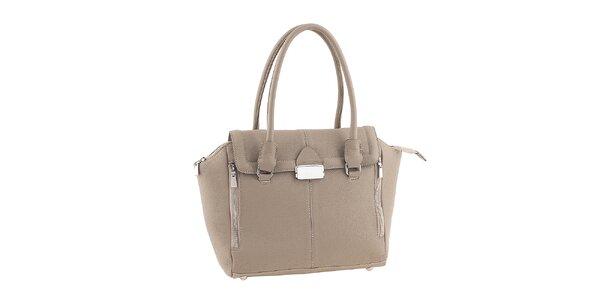 Dámská šedobéžová kožená kabelka se zipy Classe Regina
