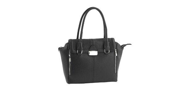Dámská černá kožená kabelka se zipy Classe Regina