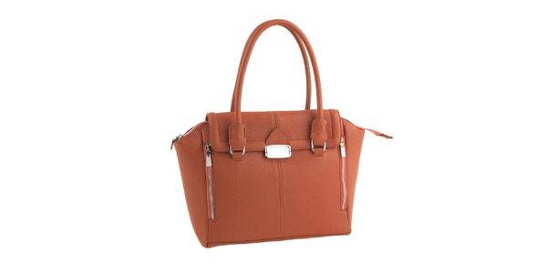 Dámská cihlově červená kožená kabelka se zipy Classe Regina