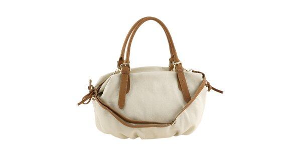 Dámská bílá kožená kabelka s hnědými uchy a tkaničkami Classe Regina