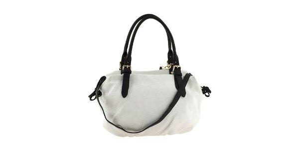 Dámská bílá kožená kabelka s černými uchy a tkaničkami Classe Regina