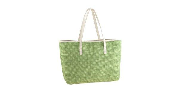 Dámská zelená slaměná kabelka s koženými detaily Classe Regina