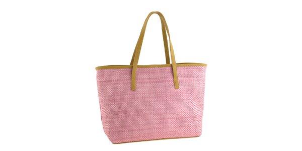 Dámská růžová slaměná kabelka s koženými detaily Classe Regina