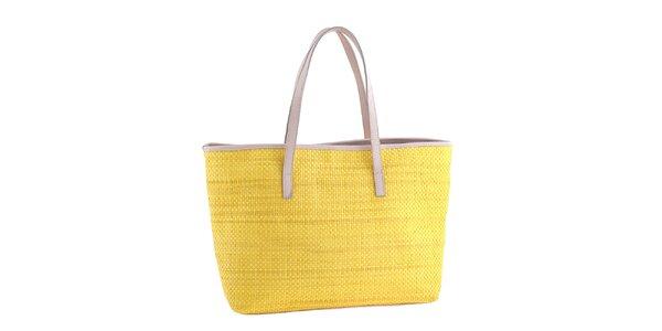 Dámská žlutá slaměná kabelka s koženými detaily Classe Regina