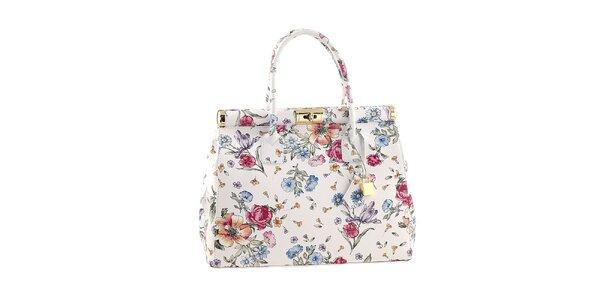 Dámská bílá květinová kabelka se zámečkem kožená Classe Regina