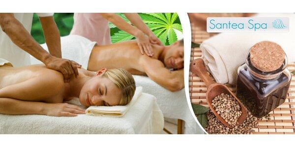 Konopná masáž se zábalem pro bolavá záda