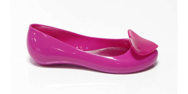 Dámské růžové baleríny Favolla se srdíčkem