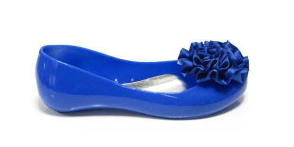 Dámské kobaltově modré baleríny Favolla s kytičkou