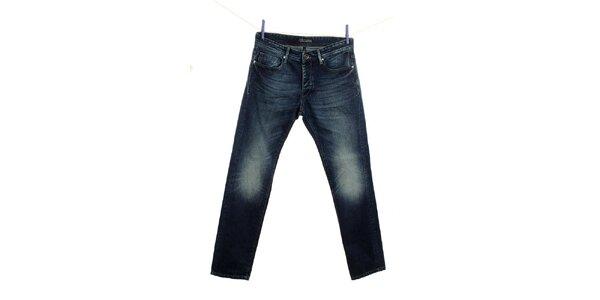 Pánské modré džíny Fuga s šisováním na kolenou