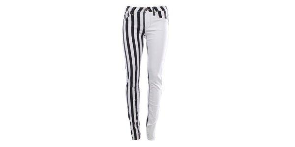 Dámské bílo-černé džíny s pruhy Fuga