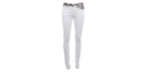 Dámské bílé úzké džíny s barevným pasem Fuga