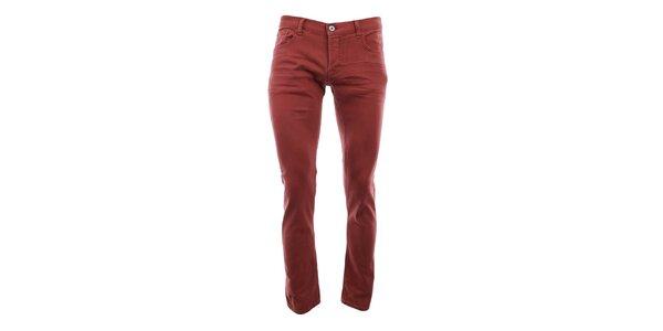 Pánské červené úzké kalhoty Fuga