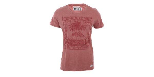 Pánské cihlově červené tričko s potiskem Fuga