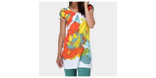 Dámské bílé tričko s barevným potiskem Piedra and Agua