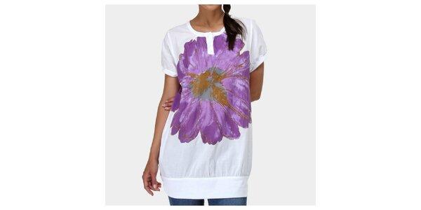 Dámské bílé tričko s květinou Piedra and Agua