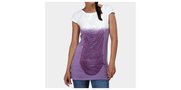 Dámské fialovo-bílé tričko Piedra and Agua