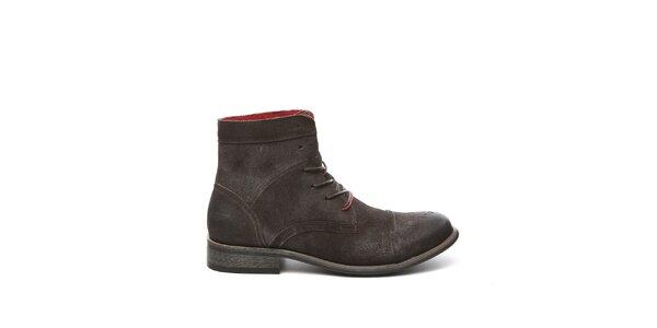Pánské tmavě hnědé kotníkové boty Steve Madden