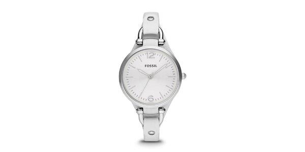 Dámské ocelové hodinky s bílým koženým páskem Fossil