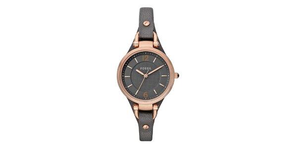 Dámské ocelové hodinky s tmavým koženým páskem Fossil