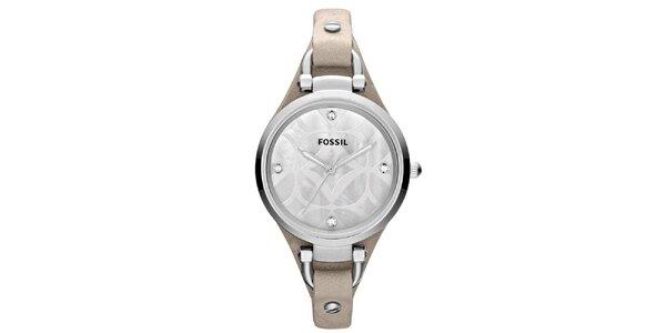 Dámské ocelové hodinky se světlým koženým páskem Fossil