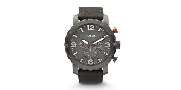 Pánské šedé hodinky s chronografem Fossil