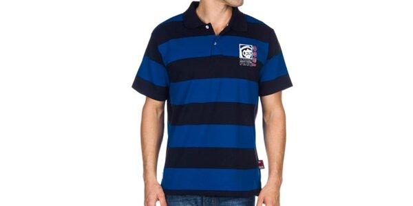 Pánské modré pruhované polo tričko Indian Face