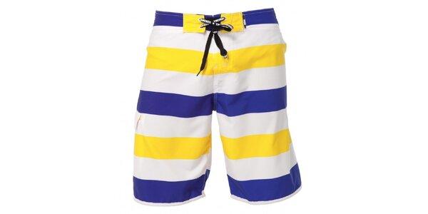Pánské modro-žluto-bíle pruhované plavky Indian Face