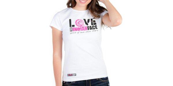 Dámské bílé tričko Indian Face s potiskem