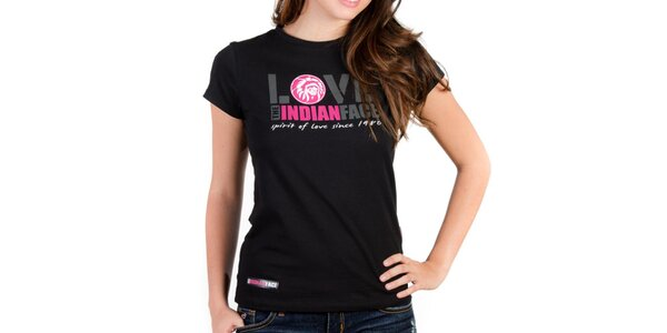 Dámské černé tričko Indian Face s potiskem