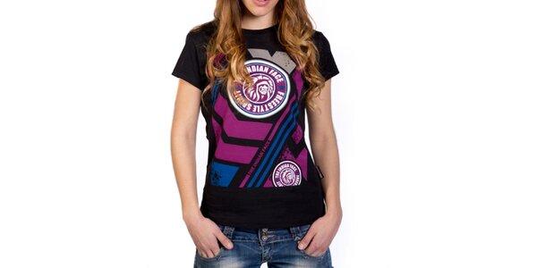 Dámské černé tričko s barevným potiskem Indian Face