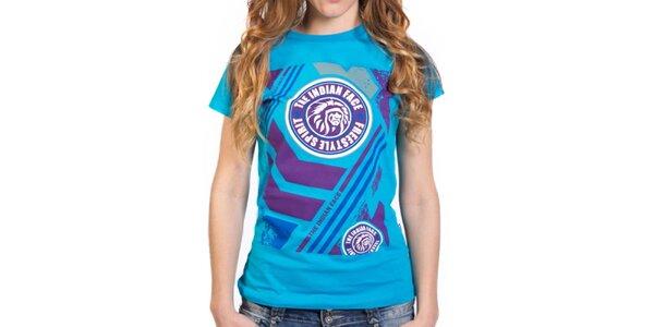 Dámské modré tričko s barevným potiskem Indian Face